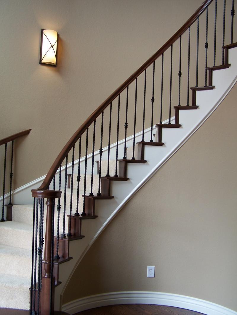 Best Stairs Brown Wood Smooth Railings With Black Modern Metal 640 x 480
