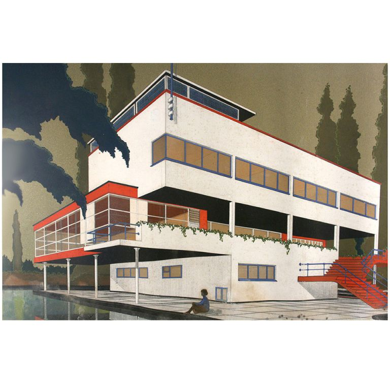 Original 1933 Art Deco Bauhaus Architect Villa Blueprint and Drawing - new blueprint program online