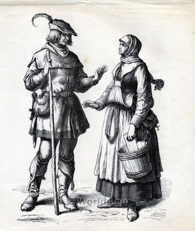 German Peasant costume in 1530, Renaissance 16th century ...