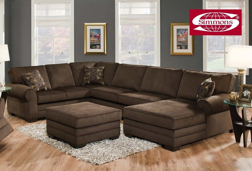 Simmons Tenner Deluxe Beluga Plush Corduroy Sofa Sectional Brown Living Room Living Room Sofa Design Grey Walls Living Room