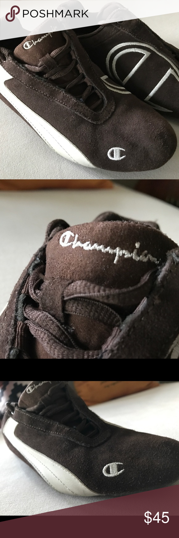 418fe4b70f8 Vintage Champion Chocolate Brown Suede Shoes Unisex. Super hype beast and  retro cool!