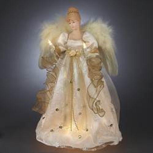 Kurt Adler 16\u0027 Ul 10-Light Ivory/Gold Angel Treetop, As Shown