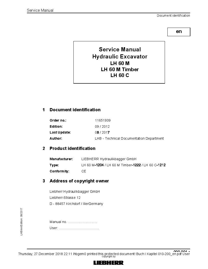 Liebherr Lh 60m Timber Lh60c Hydraulic Excavator Workshop Repair Service Manual Pdf Download Hydraulic Excavator Excavator Repair Manuals