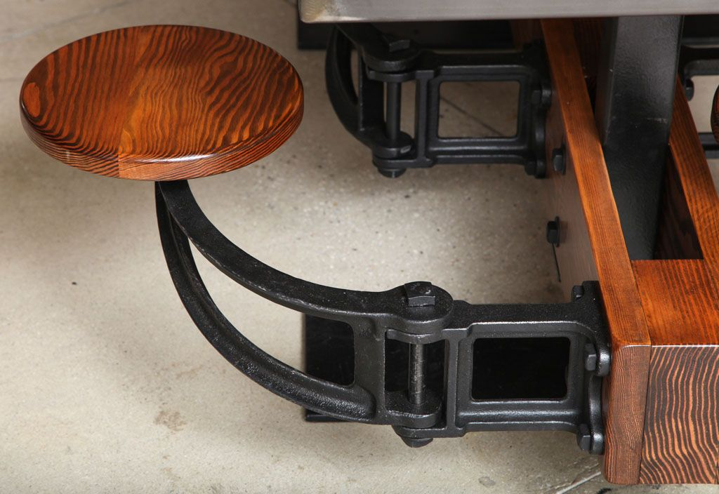 Dining Table Set Vintage Industrial Cast Iron Wood