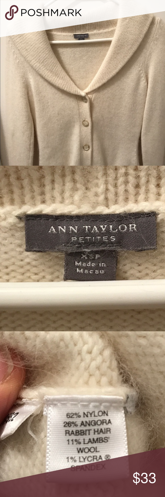 Ann Taylor sweater angora and lambswool Excellent condition no rips tears or stains save 15% when you bundle Ann Taylor Sweaters Cardigans