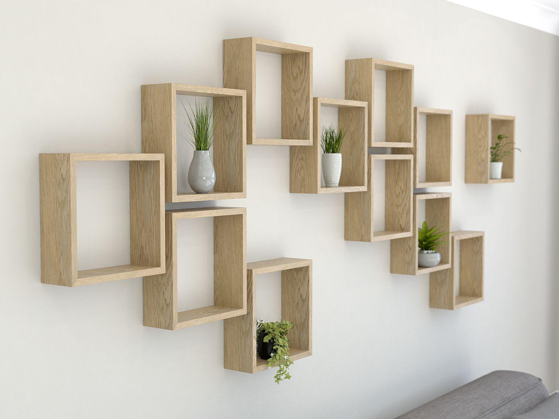 Square Shelves Oiled Oak Cube Shelves Geometric Shelves Square Shelf