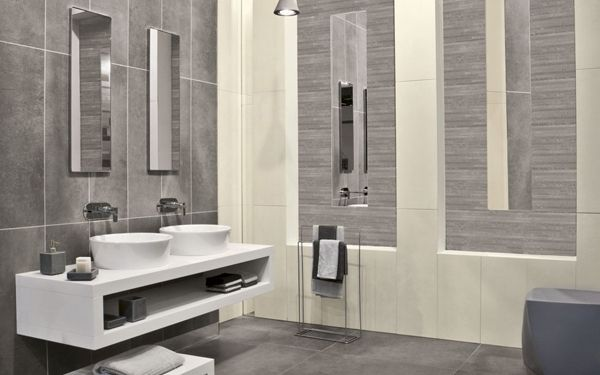 Faience Salle De Bain Moderne salle de bain gris framboise deco