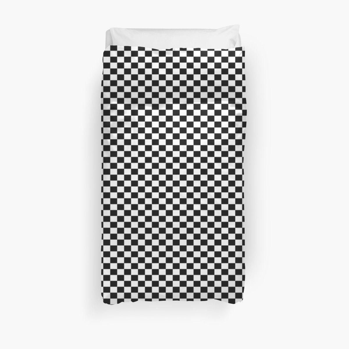 Black White Checker Design Bedspread - Mini Chess Sticker Duvet Cover images