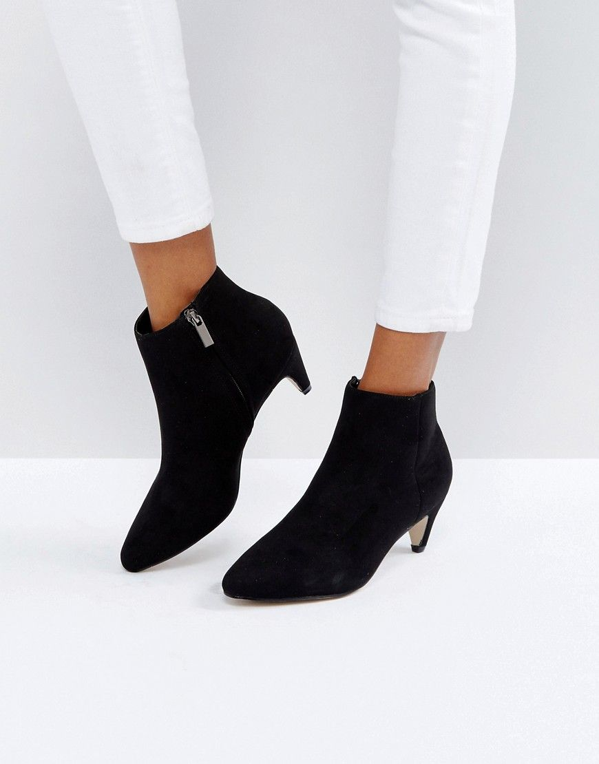 7be5435b984 New Look Kitten Heel Suedette Ankle Boot - Black | Outfit This ...