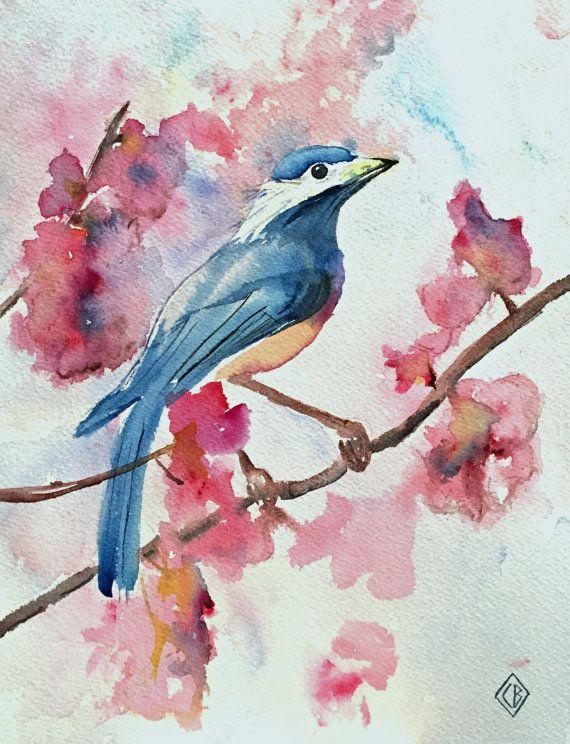 Bluebird 8x10 Original Watercolor Painting Nature Art 40
