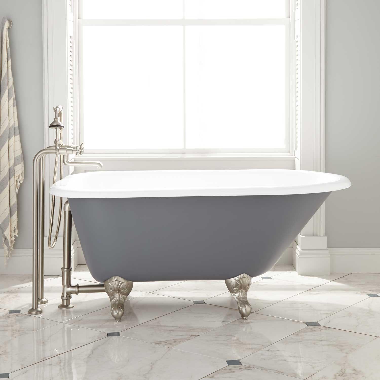 54 Miya Cast Iron Clawfoot Tub Ball Claw Feet Dark Gray Black Clawfoot Tub Clawfoot Tub Black Bathroom
