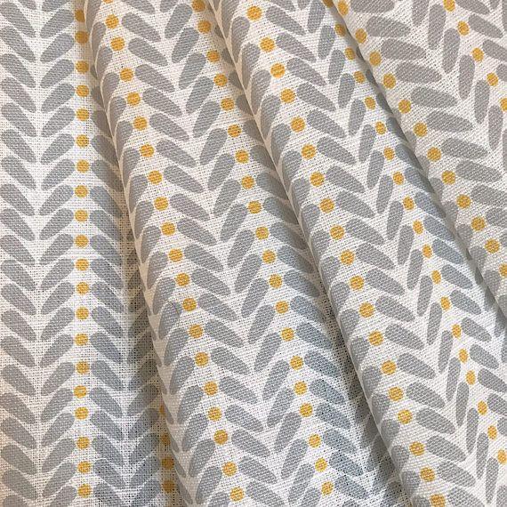 Yellow And Grey Fabric Curtain Scandinavian