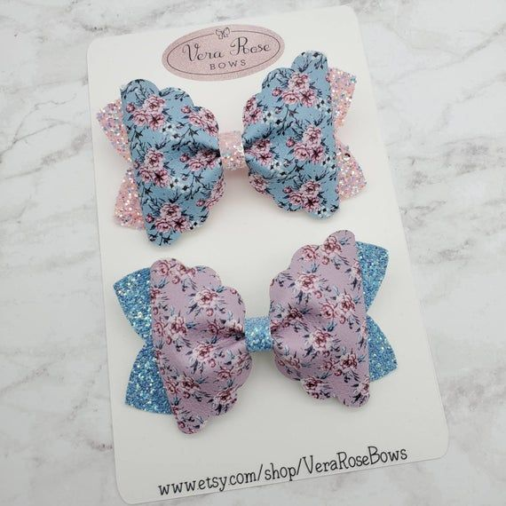 gift vera rose bows floral bow handmade bow glitter bow glitter Floral bow flower bow hairbows floral collection