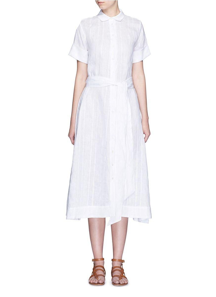 Lisa Marie Fernandez Stripe Cotton Linen Voile Midi Shirt Dress