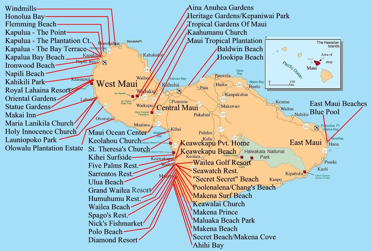 A map of all the beaches in maui 3 maui my happy place 1 a map of all the beaches in maui 3 sciox Gallery