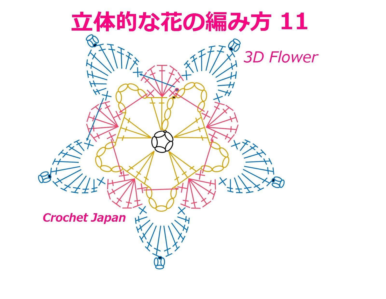 立体的な花の編み方 11【かぎ針編み】How to Crochet 3D Flower https ...