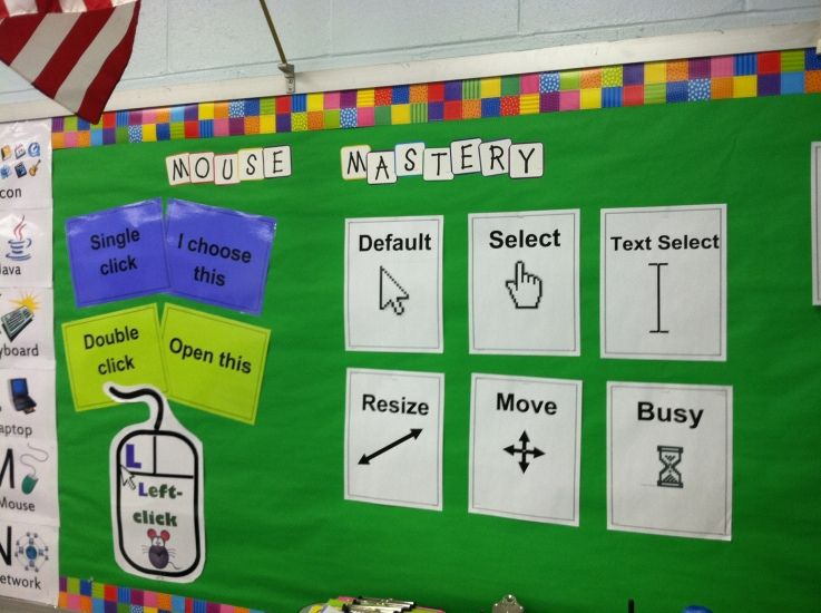 Bulletin board mouse mastery also computer lab organization rh pinterest