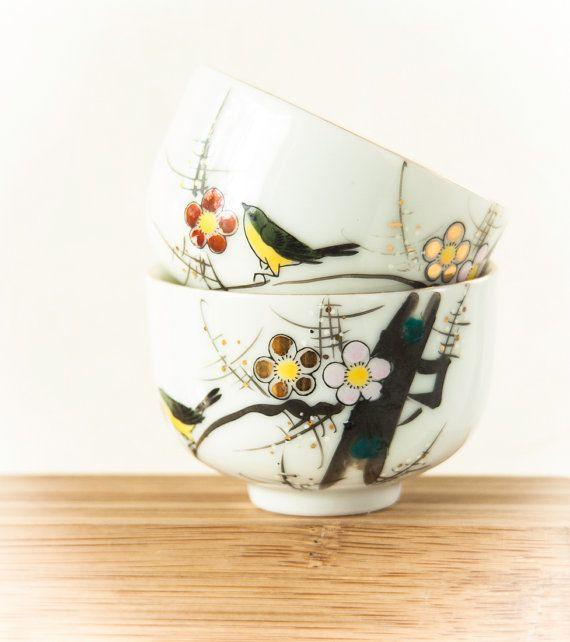 Vintage Japan Teacups, Plum Blossom Porcelain