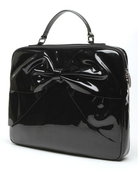 b62ebd90ce991 Lady Lux Work Bag Black Shiny bow patent leather square retro vintage mid  century mad men office work business corporate
