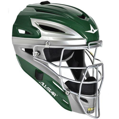 3dbd0922bcf4ca www.sportsdepot.com All-Star System 7 Adult Catcher's Two Tone Head Gear -  Dark Green/Grey