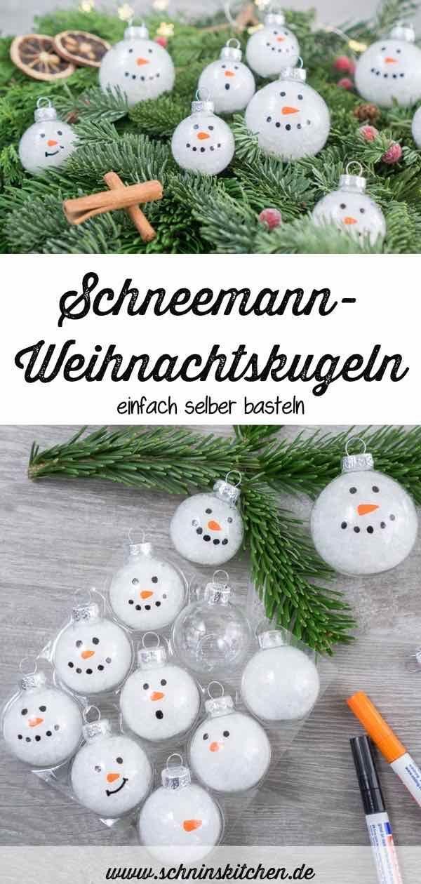 Schneemann-Weihnachtskugeln basteln - Schnin's Kitchen