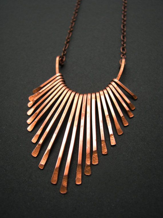 fa004d93fe6ffa Copper Necklace - Fringe Freya Design - handmade in my studio out of hammered  wire. $28.00, via Etsy.