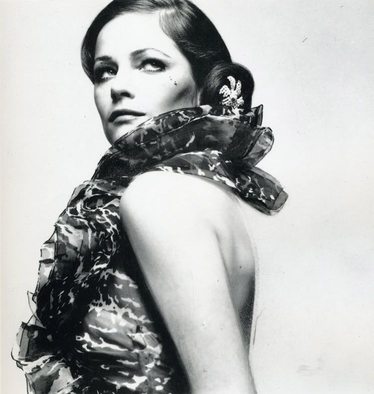 Charlotte Rampling in a Givenchy printed chiffon evening dress. Photographed by David Bailey, 1969.