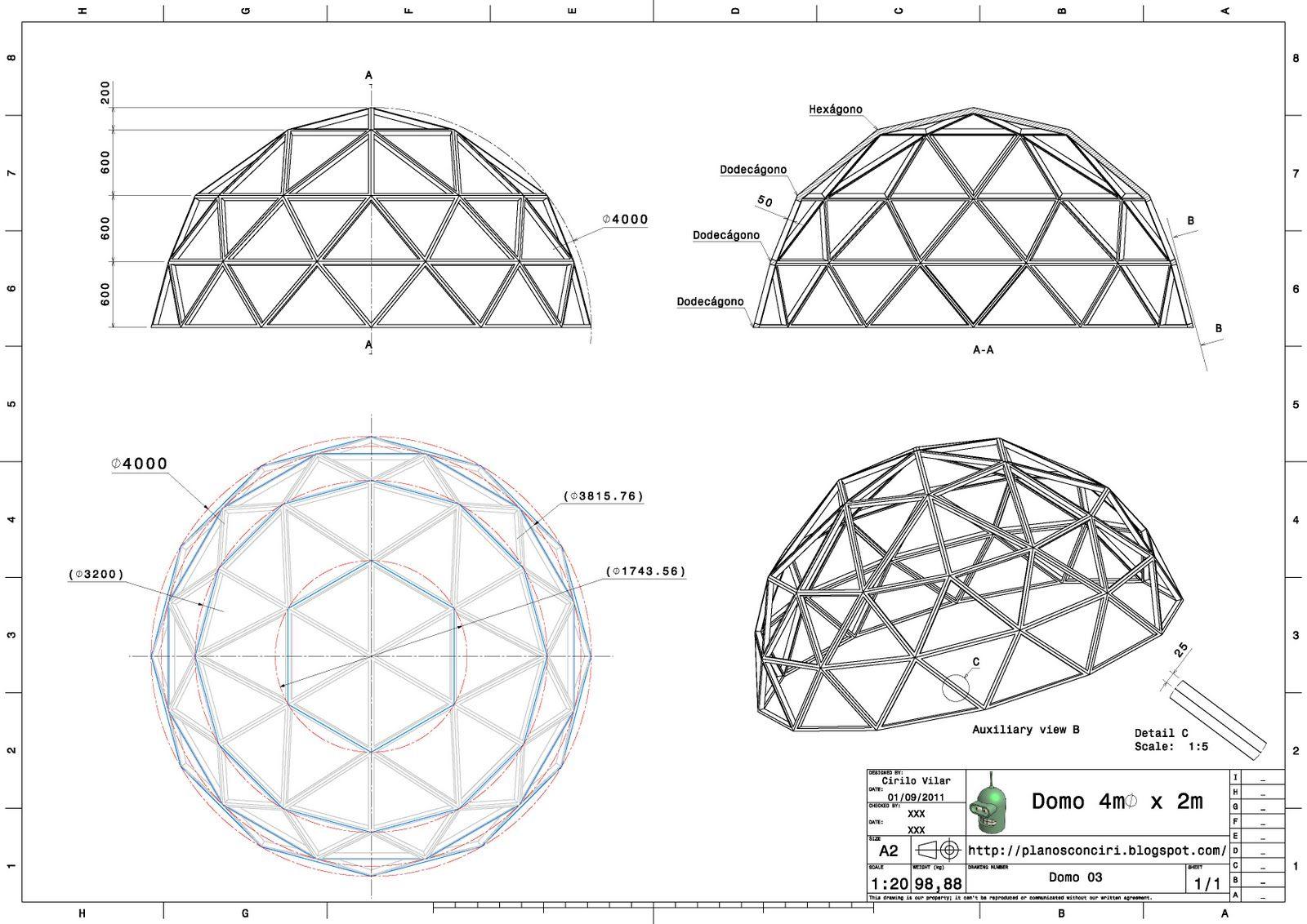Planos de domos geodesicos buscar con google planos de - Casas geodesicas ...