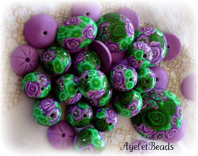 Purple and green mix by AyeletBeads, via Flickr
