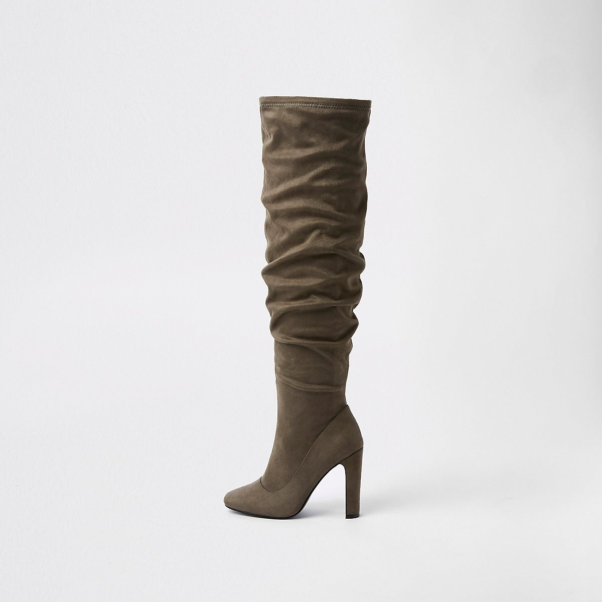 86a9c82e43b Dark grey over the knee slouch boots   Booming Booties   Boots, Shoe ...