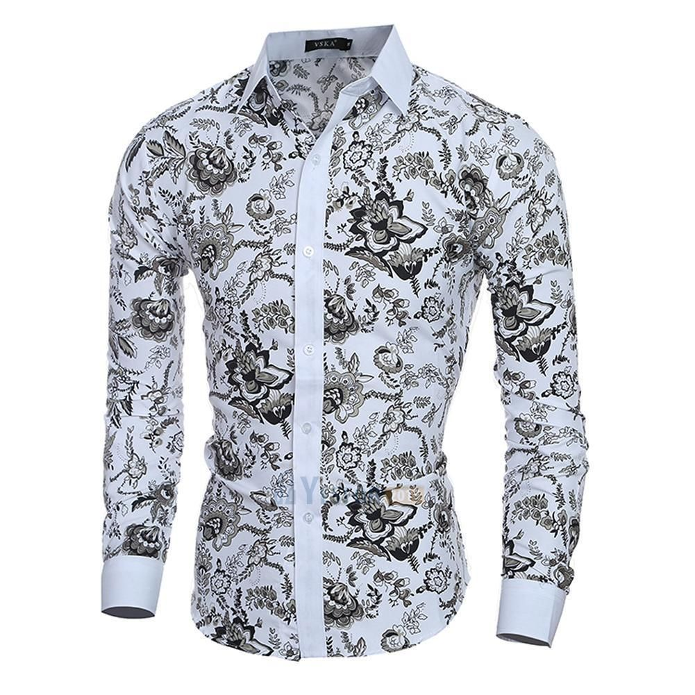 Outique Mens Floral Dress Shirt Slim fit Causal Long Sleeve Paisley Party Luxury Printed Button Down Shirts Blouse