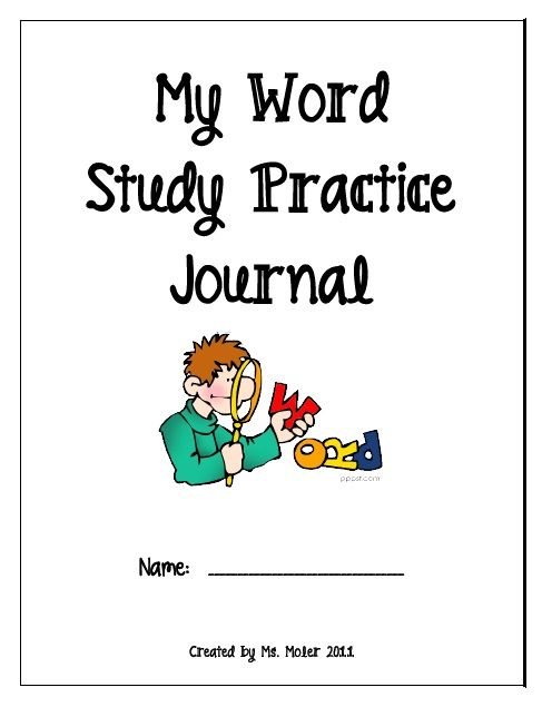 Free 96 page download. My Word Study Practice Journal | Print ...