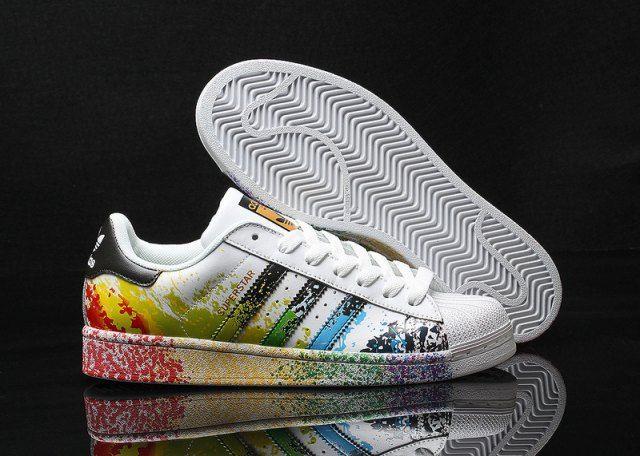 adidas originals superstar pride pack d70351 lgbt rainbow paint