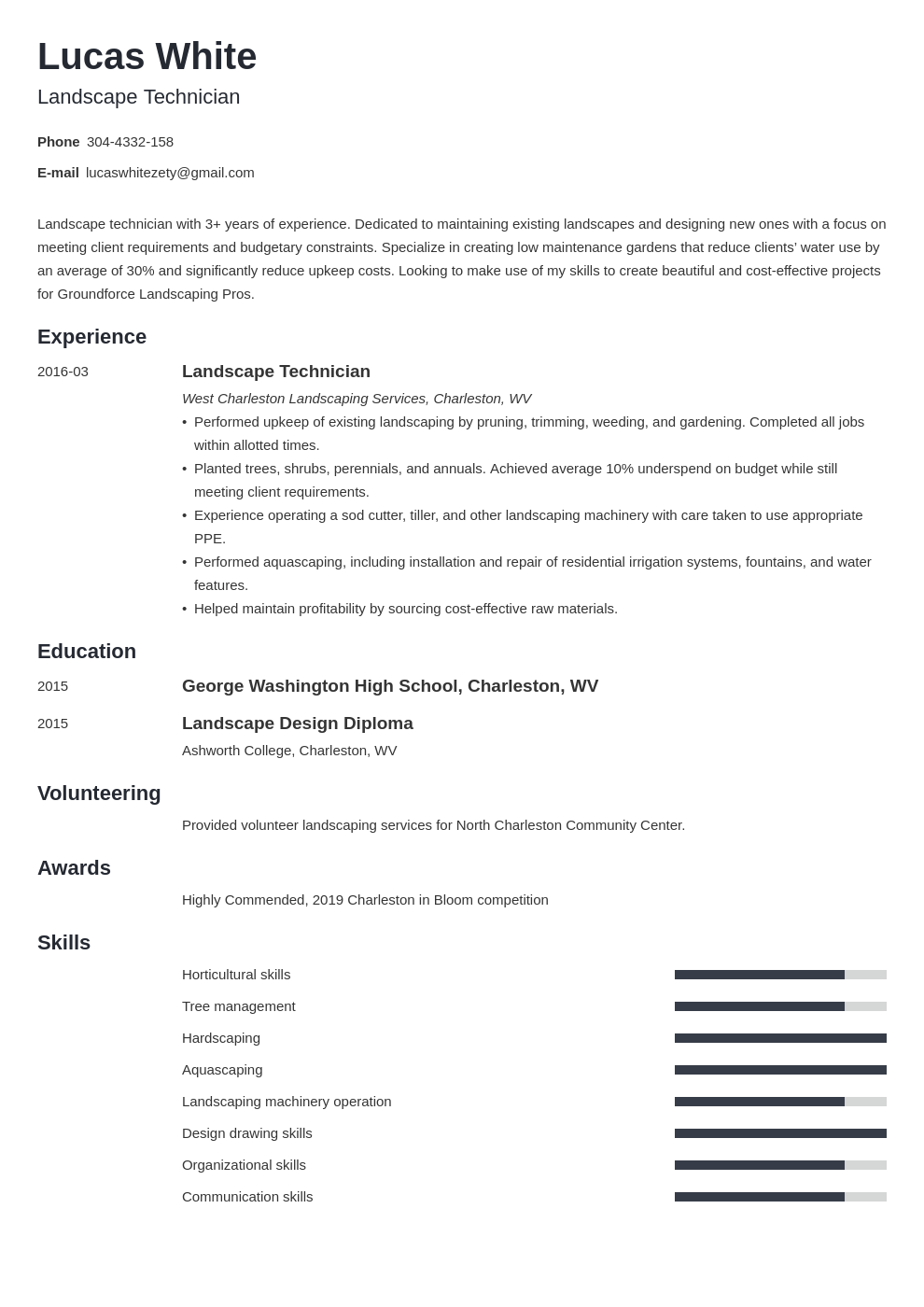 Landscaping Resume Example Template Minimo Resume Examples Job Resume Examples Resume Layout