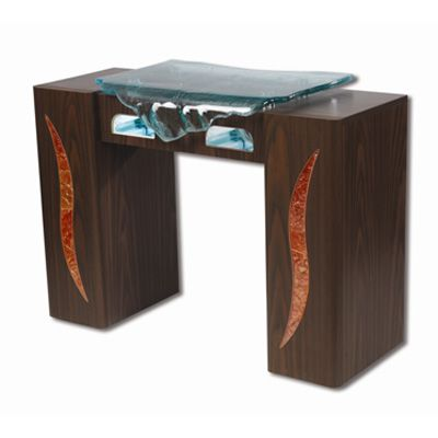 Manicure table with waterfall glass nail spa ideas for Nail salon table