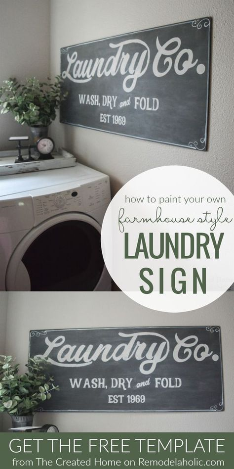 Fixer Upper Inspired Farmhouse Laundry Sign + Free Template #laundrysigns