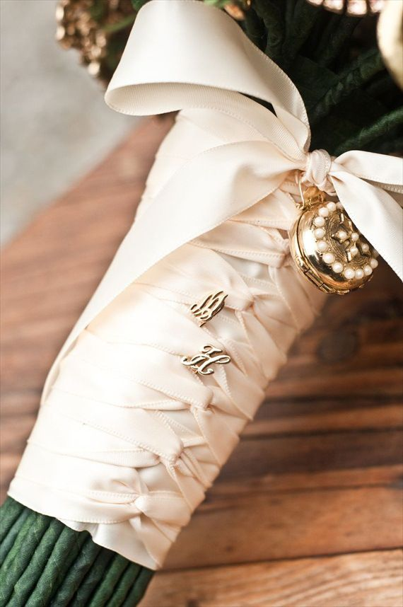 DIY Wedding Ideas: Monogrammed Hat Pins in Bouquet Handle | photo by Meghan Christine Photography Love the design - have a few pins I would like to hang off my bouquet