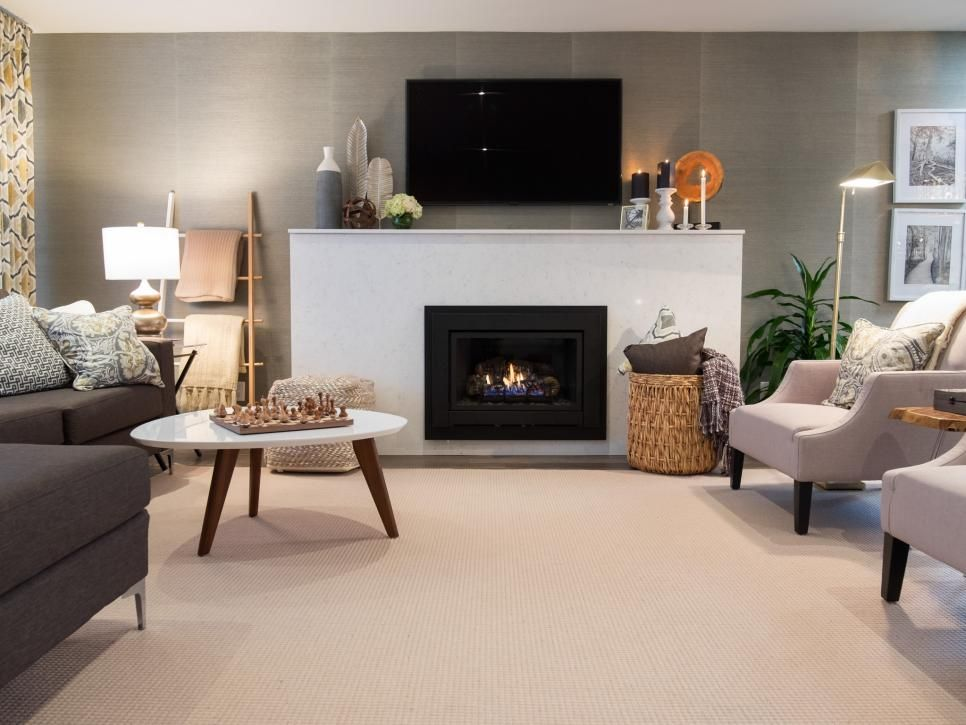 A Neutral Area Rug Pads The Open Floor Space In This Comfy Living - Living-rooms-sets-property
