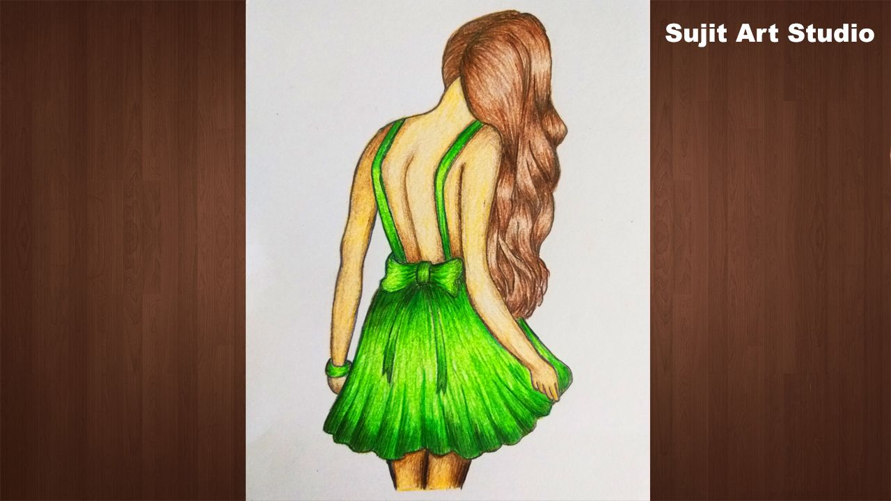 How To Draw A Girl Step By Step Colour Pencil Sketch Color Pencil Sketch Pencil Sketch Sketches