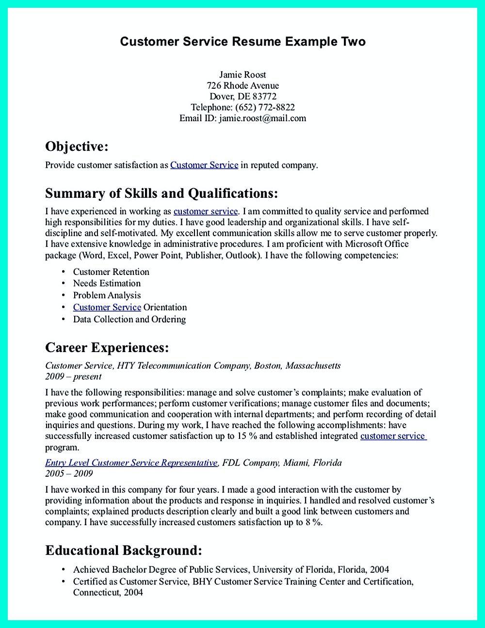 Skills For Resume Customer Service