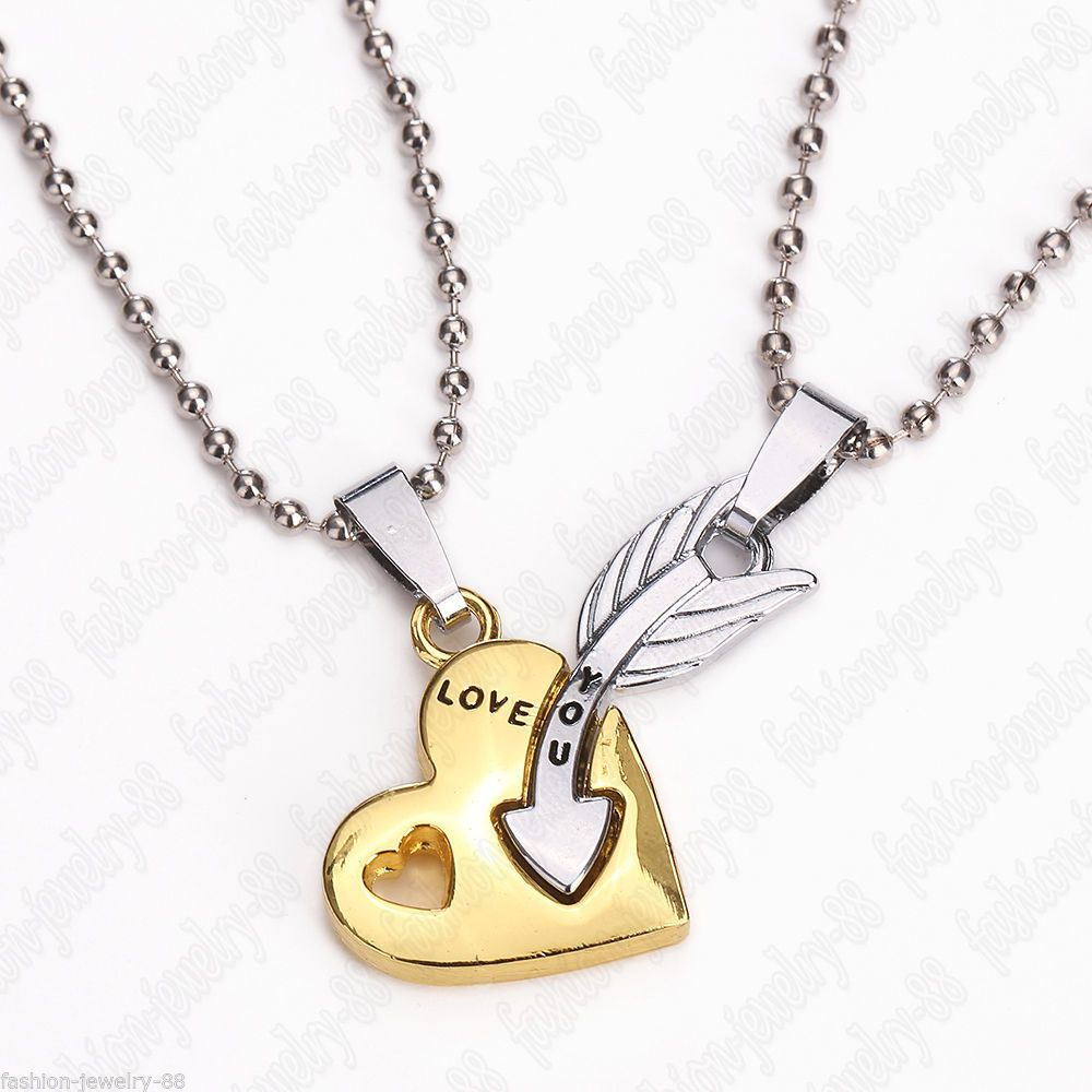 2pc Heart and Arrow Couple Necklace Set His Hers Boyfriend ...