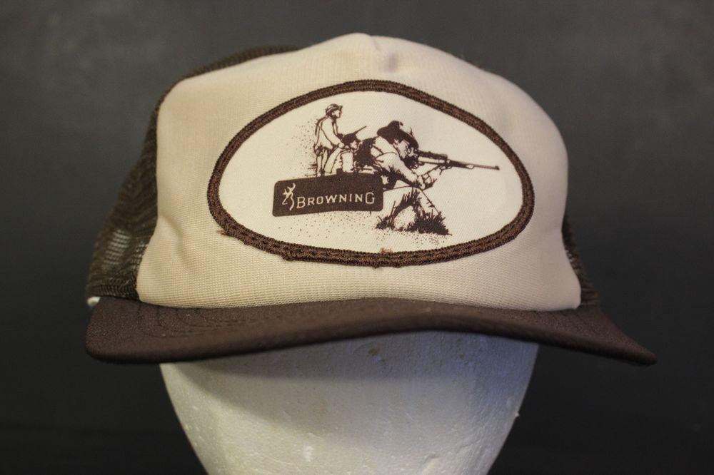 31134bf951c Vintage Browning Mesh Trucker Hat Cap Patch Brown Tan Retro Hunting  Firearms  HaT  Trucker