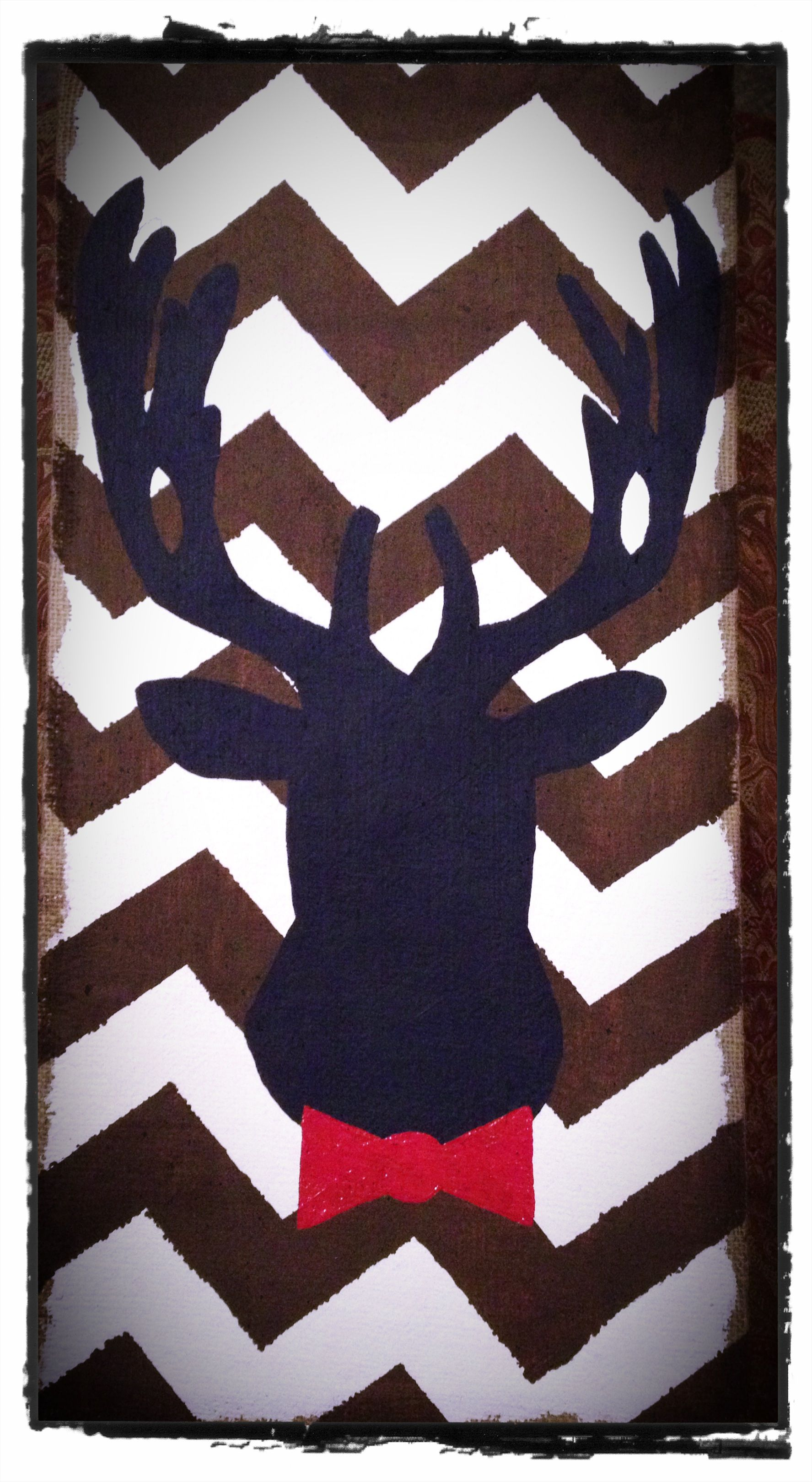 Hand painted deer head silhouette for a little man's nursery Etsy- shop name - KenzieRoseCreations