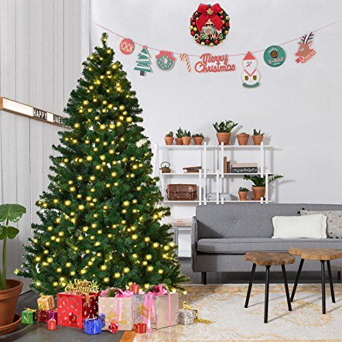 Goplus 7FT Pre-Lit PVC Artificial Christmas Tree Auto-spread ...