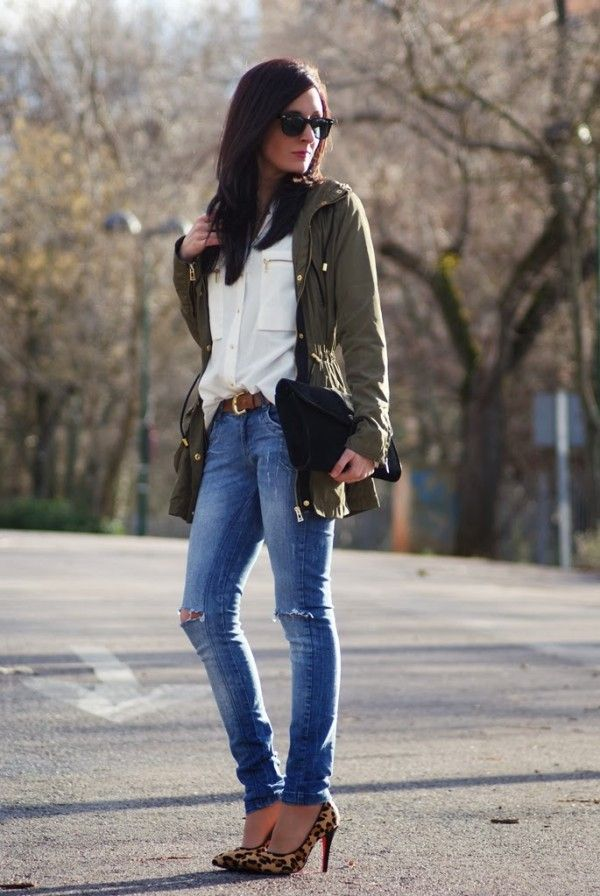 Skinny jegging jeans. White sheer button up top / shirt. Leonard heels. Army green causal jacket outfit
