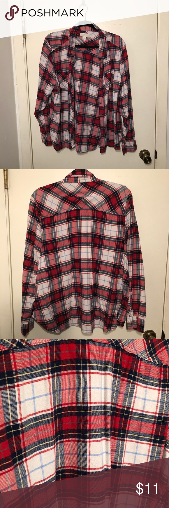 51cdd569340 Forever 21 Plus Size Blue and Red Flannel Size 2X Forever 22 Blue and Red  Flannel. Good condition. Size 2X! Priced to sell! Make and offer! Forever  21 Tops ...