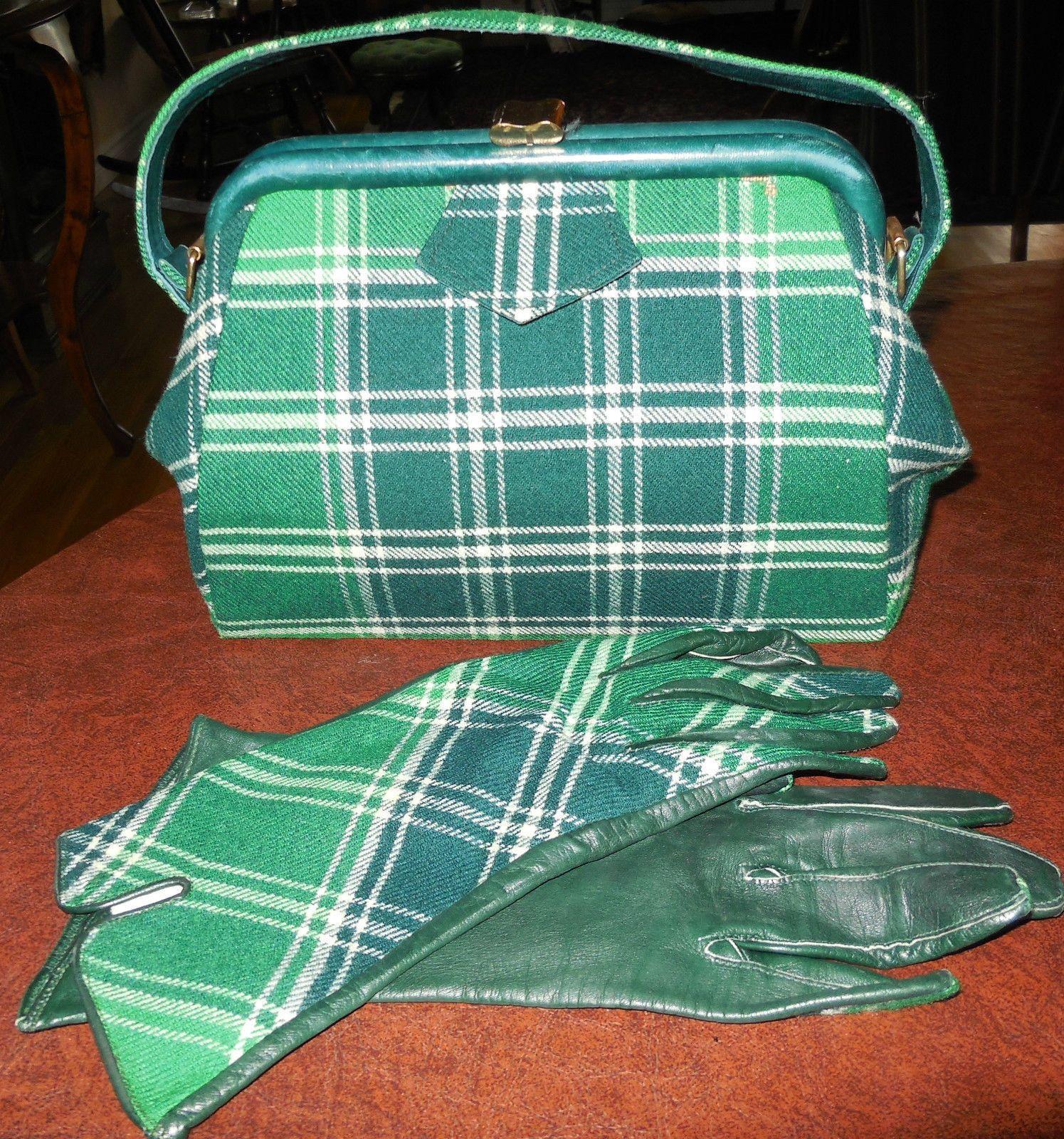 Vintage Wedding Dresses Glasgow: Vtg Scotland R W Forsyth Plaid Wool Purse Gloves Glasgow