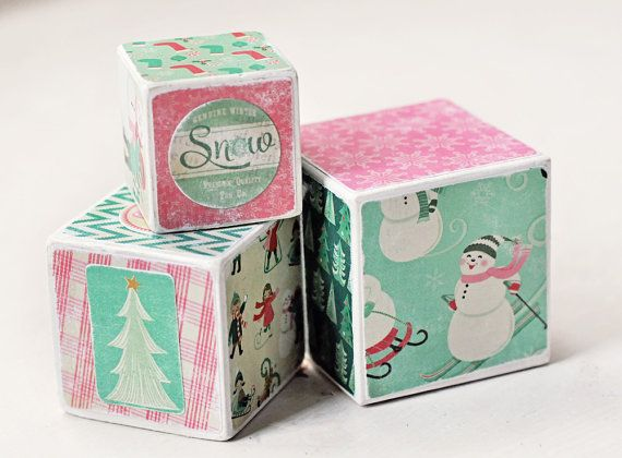 Winter, Christmas blocks, Decorative Wooden Blocks, holiday decor, seasonal, snowman,