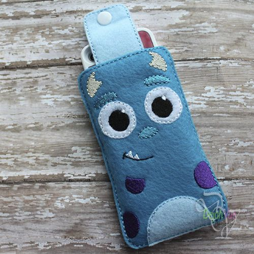 Blue Monster Phone Case ITH Embroidery Design