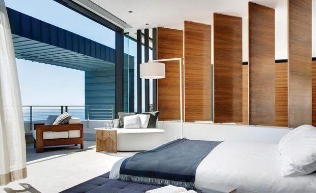 wohnideen schlafzimmer modern marine blau holz paneele ...